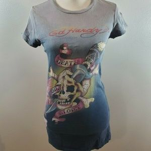 Ed Hardy Size Medium Shirt Skull Ombre Top